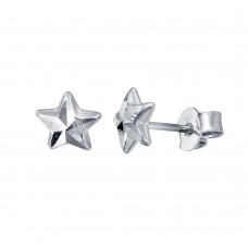 Wholesale Sterling Silver 925 Rhodium Plated DC Star Earrings - ECE00048RH