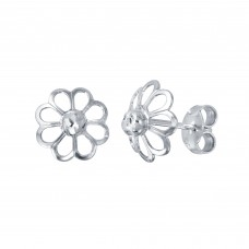 Wholesale Sterling Silver 925 Rhodium Plated Open DC Flower Earrings - ECE00050RH
