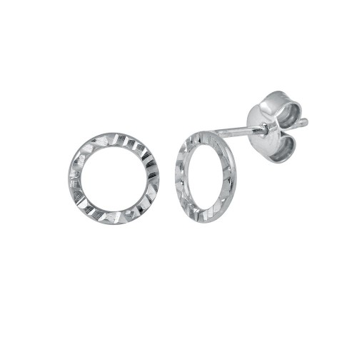 Wholesale Sterling Silver 925 Rhodium Plated Open Circle DC Flat Earrings - ECE00051RH