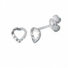 Wholesale Sterling Silver 925 Rhodium Plated Open DC Heart Earrings - ECE00054RH