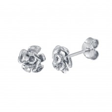 Wholesale Sterling Silver 925 Rhodium Plated Flower Earrings - ECE00056RH