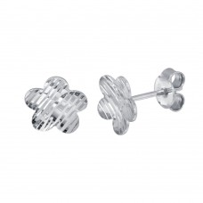 Wholesale Sterling Silver 925 Rhodium Plated DC Flower Stud Earrings - ECE00060RH