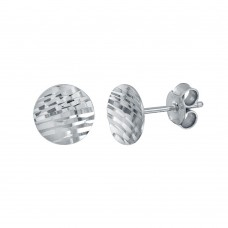 Wholesale Sterling Silver 925 Rhodium Plated DC Curved Disc Stud Earrings - ECE00062RH