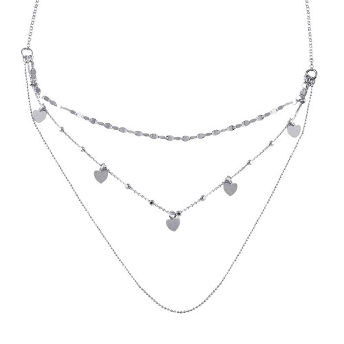 Wholesale Sterling Silver 925 Rhodium Plated Multi Chain Dangling Hearts Necklace - ECN00054RH