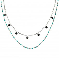 Wholesale Sterling Silver 925 Rhodium Plated Double Chain Dangling Black CZ with Turquoise Beads - ECN00055RH