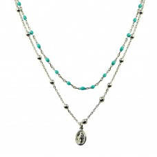 Wholesale Sterling Silver 925 Rhodium Plated Double Chain Medallion Charm Turquoise Beads Necklace - ECN00056RH