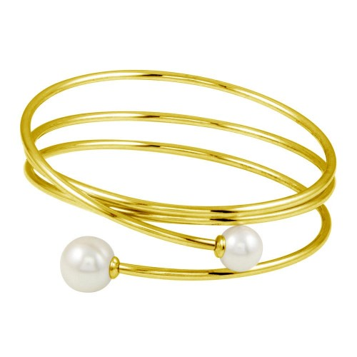 Wholesale Sterling Silver 925 Gold Plated Quadruple Wrap with Imitation Pearl - ITB00218GP