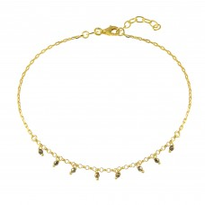 Wholesale Sterling Silver 925 Gold Plated Dangling CZ Anklet - SOA00020