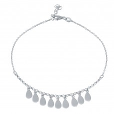 Wholesale Sterling Silver 925 Rhodium Plated Dangling Teardrop Charm Anklet - SOA00021