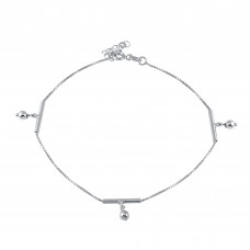 Wholesale Sterling Silver 925 Rhodium Plated Dangling Bar Beads Charm Anklet - SOA00022