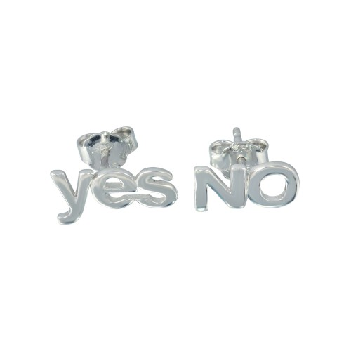 Wholesale Sterling Silver 925 Rhodium Plated Yes and No Stud Earrings - SOE00030
