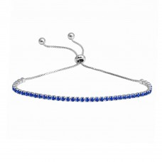 Wholesale Sterling Silver 925 Rhodium Plated Blue CZ Lariat Bracelet - STB00534RH-BLUE