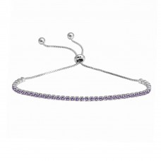 Wholesale Sterling Silver 925 Rhodium Plated Purple CZ Lariat Bracelet - STB00534RH-PUR