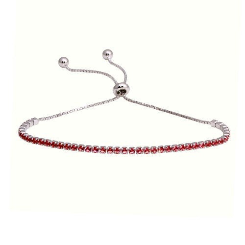 Wholesale Sterling Silver 925 Rhodium Plated Red CZ Lariat Bracelet - STB00534RH-RED