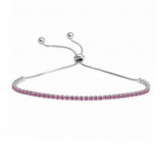 Wholesale Sterling Silver 925 Rhodium Plated Pink CZ Lariat Bracelet - STB00534RH-ROSE