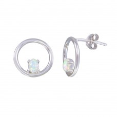 Wholesale Sterling Silver 925 Rhodium Plated Open Circle Synthetic Opal Earrings - STE01186