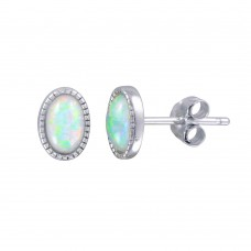 Wholesale Sterling Silver 925 Rhodium Plated Oval Synthetic Opal Stud Earrings - STE01187