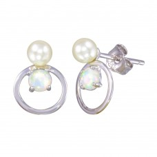 Wholesale Sterling Silver 925 Rhodium Plated Open Circle Stud Earrings with Synthetic Pearl and Opal - STE01188