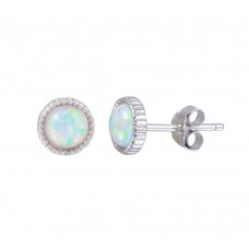 Wholesale Sterling Silver 925 Rhodium Plated Synthetic Opal Earrings - STE01189