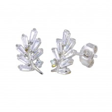 Wholesale Sterling Silver 925 Rhodium Plated Leaf Baguette CZ Earrings - STE01191