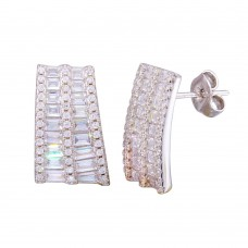 Wholesale Sterling Silver 925 Rhodium Plated Baguette and CZ Stud Earrings - STE01192