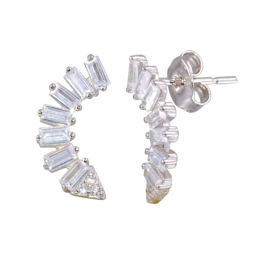 Wholesale Sterling Silver 925 Rhodium Plated Baguette CZ Dangling Crescent Earrings - STE01193