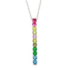 Wholesale Sterling Silver 925 Rhodium Plated Colorful Dangling CZ Pendant - STP01710