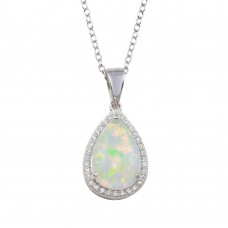 Wholesale Sterling Silver 925 Rhodium Plated Teardrop Synthetic Opal Pendant Necklace with CZ - STP01711
