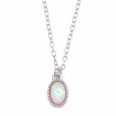 Wholesale Sterling Silver 925 Rhodium Plated Oval Synthetic Opal Necklace - STP01712