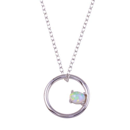 Wholesale Sterling Silver 925 Rhodium Plated Open Circle Synthetic Opal Necklace - STP01713