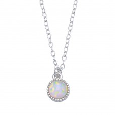 Wholesale Sterling Silver 925 Rhodium Plated Round Synthetic Opal Necklace - STP01714