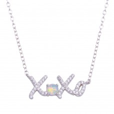 Wholesale Sterling Silver 925 Rhodium Plated Round XOXO CZ Synthetic Opal Necklace - STP01715