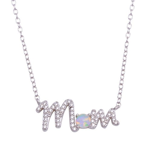 Wholesale Sterling Silver 925 Rhodium Plated Round MOM CZ Synthetic Opal Necklace - STP01716