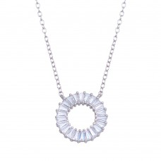Wholesale Sterling Silver 925 Rhodium Plated Open Circle Baguette CZ Necklace - STP01717