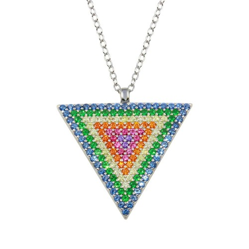 Wholesale Sterling Silver 925 Rhodium Plated Colorful CZ Triangle Pendant Necklace - STP01718