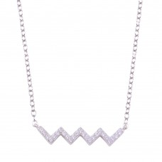 Wholesale Sterling Silver 925 Rhodium Plated Round ZigZag CZ Necklace - STP01719