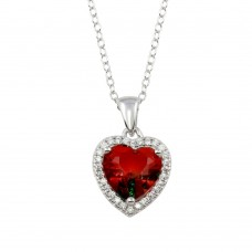 Wholesale Sterling Silver 925 Rhodium Plated Halo Red and Green Gradient Heart CZ Necklace - STP01727