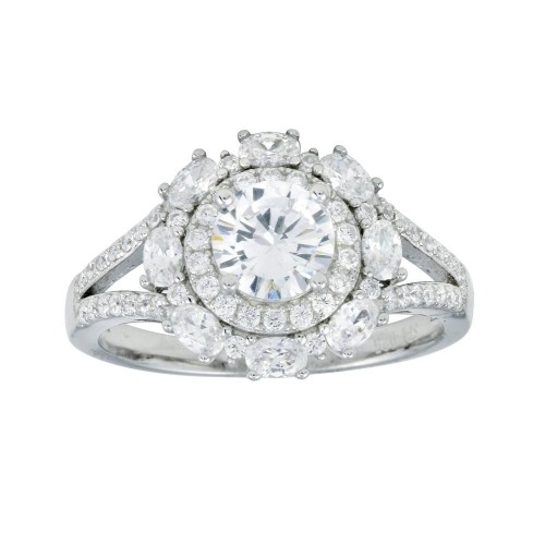 Wholesale Sterling Silver 925 Rhodium Plated Round Multi CZ Ring - STR01109