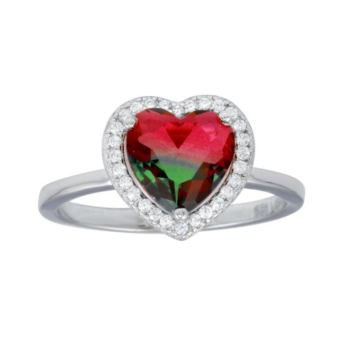 Wholesale Sterling Silver 925 Rhodium Plated Heart Green to Red Gradient CZ Ring - STR01111