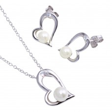 Wholesale Sterling Silver 925 Rhodium Plated Open Heart Pendant Necklace with Synthetic Pearl and CZ - STS00258