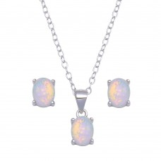 Wholesale Sterling Silver 925 Rhodium Plated Synthetic Opal Oval Set - STS00527