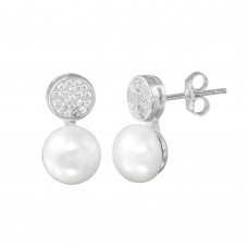 Wholesale Sterling Silver 925 Rhodium Plated CZ Encrusted Disc Dangling Pearl Earring - BGE00628