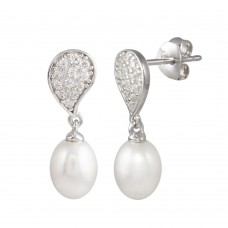 Wholesale Sterling Silver 925 Rhodium Plated CZ Encrusted Teardrop Dangling Pearl Earring - BGE00629