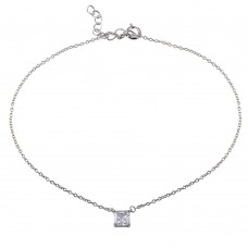 Wholesale Sterling Silver 925 Rhodium Plated Square CZ Anklet - BGF00028