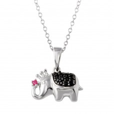 Wholesale Sterling Silver 925 Rhodium Plated Black and Pink CZ Elephant Pendant Necklace - BGP01323