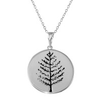 Wholesale Sterling Silver 925 Rhodium Plated Round Tree of Life Disc Necklaces - BGP01324