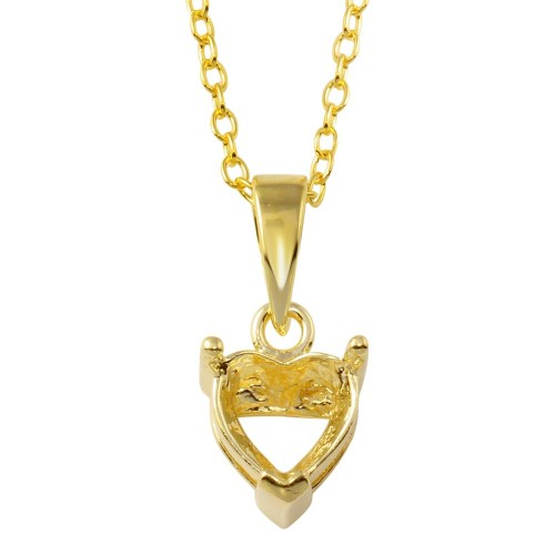 Wholesale Sterling Silver 925 Gold Plated Mounting Heart Necklace - BGP01327GP