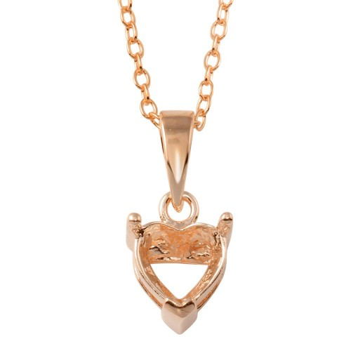 Wholesale Sterling Silver 925 Rose Gold Plated Mounting Heart Necklace - BGP01327RGP