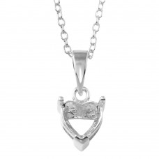 Wholesale Sterling Silver 925 Rhodium Plated Mounting Heart Necklace - BGP01327RH