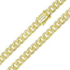 Wholesale Sterling Silver 925 Gold Plated Baguette CZ Encrusted Curb Chains 10.9mm - CHCZ116 GP